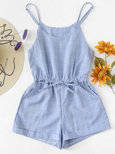 To find out about the Drawstring Waist Grid Print Cami Jumpsuit at SHEIN, part of our latest Jumpsuits ready to shop online today! Girls Fashion Clothes, Teen Fashion Outfits, Cute Fashion, Kids Outfits, Fashion Fashion, Cute Outfits For School, Cute Summer Outfits, Cute Casual Outfits, Rompers Women
