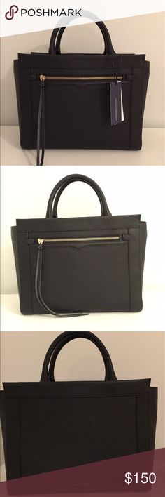 Rebecca Minkoff Handbag NWT, with shoulder strap New with tags black Rebecca Minkoff small Monroe satchel. It comes with a dust bag as well as a removable shoulder strap. Brand new with no damage whatsoever. Original retail price was $245. Rebecca Minkoff Bags Shoulder Bags