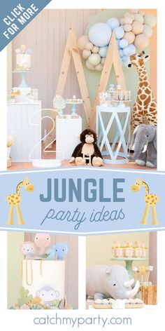 Take a look at this adorable jungle-themed birthday party! The cake is fantastic! See more party ideas and share yours at CatchMyParty.com Jungle Party, Safari Party, Jungle Safari, Jungle Animals, Birthday Drinks, Boy Birthday Parties, Baby Birthday, Birthday Ideas, Animal Birthday