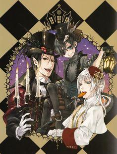 Michealis   Kuroshitsuji Manga Reading from Chapter 1 to 97 http://www.mangaeden.com/en-manga/kuroshitsuji/   Season 1 http://dubbedanime.net/anime/black-butler-english-dubbed              Season 2      http://dubbedanime.net/anime/black-butler-ii-english-dubbed      Season 3  http://animewaffles.tv/Details-Kuroshitsuji-Book-of-Circus-1327    OVA's  http://www.funniermoments.com/tag.php?t=black-butler