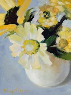 White and Yellow Summer Flowers by eringregory on Etsy, $245.00
