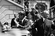 """June 23, 1963. President Kennedy was greeted by an adoring public on his arrival in Cologne, West Germany. Three days later he delivered the memorable speech, """"Ich bin ein Berliner""""."""