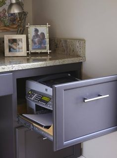 Great office organization. Keep your printer close at hand without taking up desk space. Also helps keep it clean!    More home decor ideas http://thegardeningcook.com/category/home-decor/