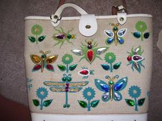 Enid Collins canvas with white large bag, Glitter Bugs II