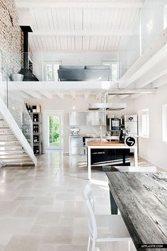 + [Less glass and those floors need to be concrete. But other than that this place is amazing!!!!!! Oh and perhaps instead of white paint, whitewashing?]