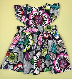 Ruffle Dress- Floral Dress - Floral Printed Kids Clothing - Children's Floral Dress - Floral Girls D Baby African Clothes, African Dresses For Kids, African Lace Dresses, Little Girl Dresses, Girls Dresses, Baby Dresses, Latest African Fashion Dresses, African Print Fashion, Baby Dress Design