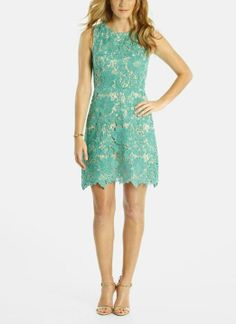 Love the hem on this sweet teal lace dress
