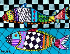 Fish Art Folk Print Poster Black and White Checks Heather Galler Colorful Art – Kunstunterricht Folk Print, Fish Art, Fish Fish, Art Lessons Elementary, Fish Design, Ocean Art, Beach Art, Art Plastique, Doodle Art