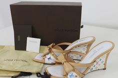 authentic LOUIS VUITTON LV Monogram Wedge Sandal SZ 38.5   Love these for Summer