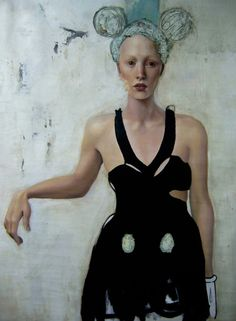 Luis Cornejo,   black garment    —    oil, acrylic and charcoal on canvas  71 x 53 inches    2007