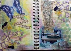 Peace Be With You - I created the background with inks on shaving cream. The page smells great! Next I added an off-set pattern with a stencil. Then came modelling paste, real pansies, images, paper bits, and stamping.  See more on my Facebook page at OHara Art Journals.