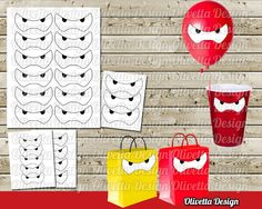 Big Hero 6 Baymax eyes Stickers Party Favor Tags by OlivettaDesign