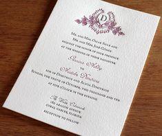 Custom Monogram Wedding Invitation Gallery - Cathryn | Ajalon Printing