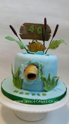 Carp fishing cake by www. Fishing Kayaks For Sale, Ice Fishing Gear, Fishing Boots, Carp Fishing, Fishing Rod, Fishing Reels, Fishing Tips, Fish Cake Birthday, Boy Birthday