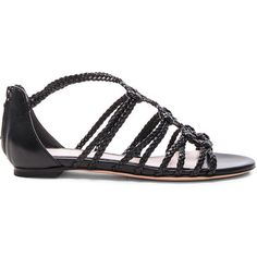 Alexander McQueen Braided Leather Sandals (15.262.820 VND) ❤ liked on Polyvore featuring shoes, sandals, woven leather sandals, alexander mcqueen, cut-out shoes, alexander mcqueen shoes and cutout sandals