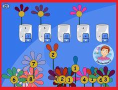 Sorteer de bloemen op het aantal bloemblaadjes op het digibord, kleuteridee.nl