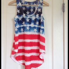 4th of July Ready w/ Stars & Stripes NWoT Tank PLEASE NOTR IT IS NEW BUT NO TAG Brand new darling tank perfect for this summer and the 4th of July. It would also be a fun swim cover or short dress Tops