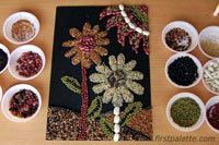 Seed Mosaic - Seeds come in all sorts of interesting shapes, colors, sizes and smells. Create a marvelous mosaic with these wonderful gifts from nature.