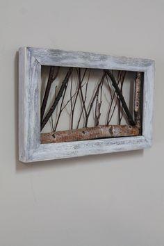 White Birch Twig Art Rustic Wall Art Cottage by WildWoodBarkArt