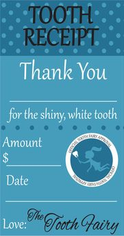 Free Printable. Tooth Fairy Receipt Boy