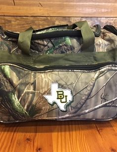 BU Texas camo duffel bag