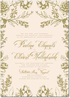 Artistic Floral Beige Wedding Invitations | Marchesa
