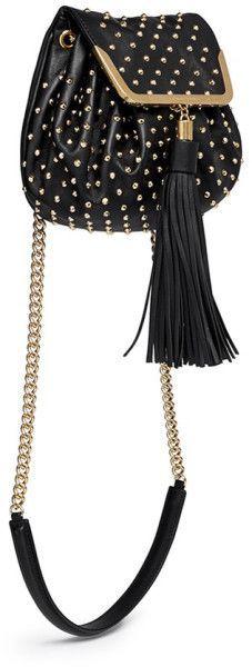 Alexander Mcqueen Heroine Stud Flap Leather Bucket Bag in Black