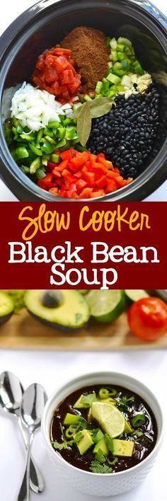 Slow Cooker Black Bean Soup - delicious and easy weeknight dinner. A meatess & vegan recipe that everyone loves! My meat-loving husband went back for seconds. | http://APinchOfHealthy.com