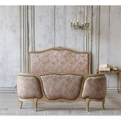 Eloquence® Antique French Dusty Rose Satin Damask Bed 1910 | Kathy Kuo Home