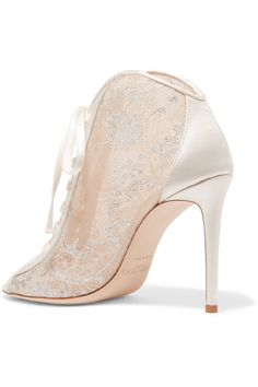 Jimmy Choo - Freya Lace-up Metallic Embroidered-tulle And Satin Ankle Boots - White - IT