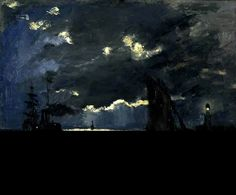 Shipping by Moonlight-Claude Monet