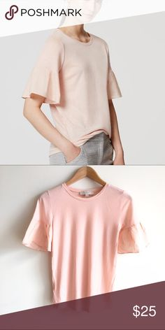 LOFT Blush Pink Flutter Short Sleeve Top Flared short sleeve knit top. Light pink color. EUC LOFT Tops Tees - Short Sleeve