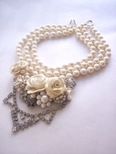 Wedding Pearls  Statement Necklace Vintage Rhinestones Chunky