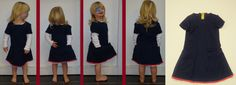 DIY jurk donker blauw met roze randje en gepimpt met klein kantje onderaan (gemaakt uit boek v Catharine Deweerdt uit haar boek Zelfgemaakte kleertjes voor toffe meisjes 2)