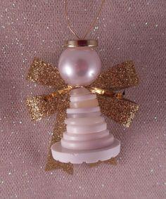 brico facile de la décoration de Noël: ange en boutons