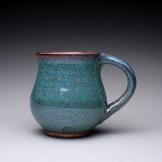 handmade pottery mug, teacup, ceramic cup with orange shino and green ash glazes