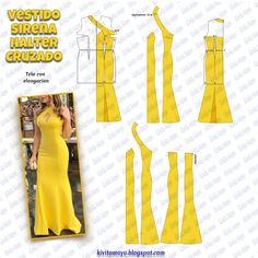 Moda fashion mujer verano for 2019 Fashion Sewing, Diy Fashion, Ideias Fashion, Dress Sewing Patterns, Clothing Patterns, Sewing Clothes, Diy Clothes, Mode Kimono, Costura Fashion