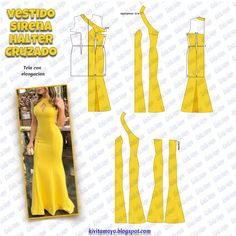 Moda fashion mujer verano for 2019 Wedding Dress Patterns, Dress Sewing Patterns, Clothing Patterns, Fashion Sewing, Diy Fashion, Fashion Dresses, Sewing Clothes, Diy Clothes, Mode Kimono