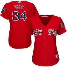 Women s Boston Red Sox David Ortiz Majestic Red Cool Base Jersey with  Retirement Patch- L 29129c1ffed