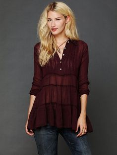 98114 New $108 Free People Fp One Tuxedo Lace Tiered Purple Shirt Tunic Top S 4 #FreePeople #Top #Casual