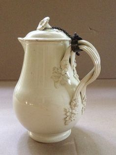 Antique English Pottery C Creamware Milkjug and cover 18thcentury.Made by the Leeds pottery.