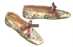 """Embroidered bronzed kid leather """"chameleon"""" shoes, French, c. 1858-1865."""