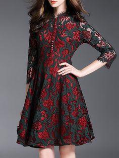 Shop Midi Dresses - Wine Red Floral Lace Pierced Elegant Midi Dress online. Discover unique designers fashion at StyleWe.com.