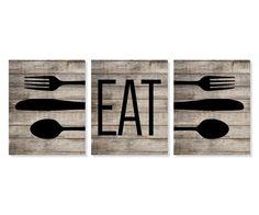 Rustic Kitchen Art Print 'Eat', Fork Spoon Knife Art, Faux Wood 'Look' Set of Three 5x7, 8X10, 11x14 Typography, Kitchen Decor, Wall Decor