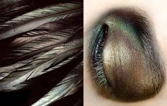 gorgeous, meticulous eye shadow inspired by these subtly iridescent feathers