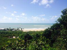 Praia vista de Trancoso, estado da Bahia, Brasil.