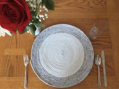 Placemats, table mats, placemat sets, fabric placemats, round placemats, coiled placemats, plant mats, dining table, kitchen table, trivet by KathyTDesigns on Etsy White Placemats, Fabric Placemats, Fabric Coasters, Placemat Sets, Dining Decor, Dining Room, Dining Table, Kitchen Tools, Kitchen Gadgets