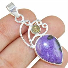Cheroite & Druzy 925 Sterling Silver Pendant Allison Co Jewelry Sp-2142 #Allisonsilverco