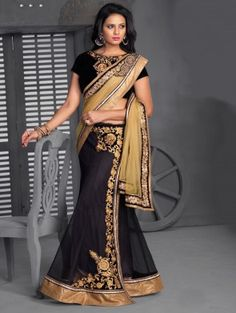 Black And Dark Cream Net Lehenga Saree With Stone Work www.saree.com