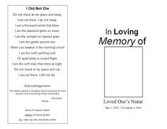 How To Make A Memorial Program. Free Sample Funeral Program  Http://funeralpamphlets  Free Printable Memorial Service Programs